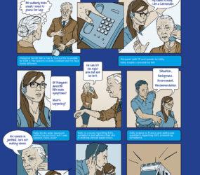 NHS 24 Comic strip poster. Everyday Heroes.