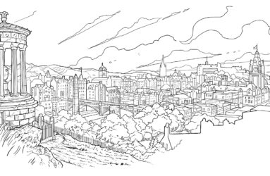Edinburgh Gin cityscape illustration.