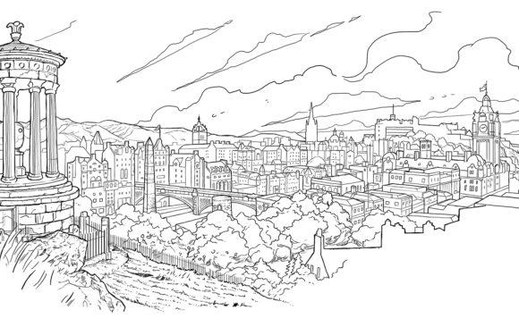 Edinburgh Gin cityscape illustration.